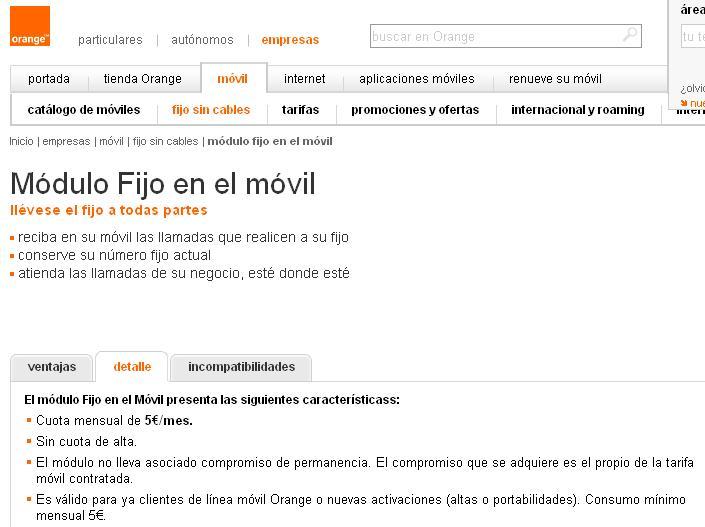 Orange permite tener un fijo en el m vil por 5 mes en for Oficina vodafone empresas